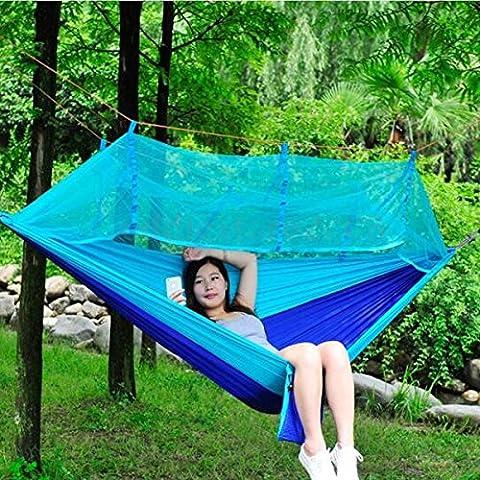 Puqu Camping Hamac à suspendre Lit avec moustiquaire légère portable extérieur Camping Voyage