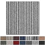 Teppichfliesen Vienna selbstliegend | hochwertiger Bitumen Rücken | strapazierfähiger Bodenbelag für Büro und Gewerbe | je 50x50 cm (grau gestreift - 4 Stück = 1qm)