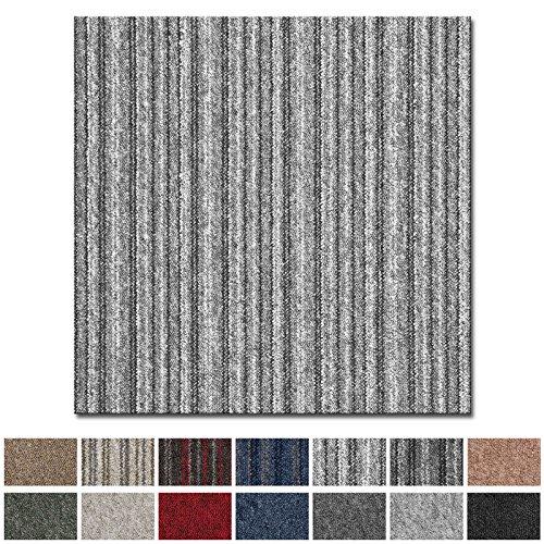casa pura Teppichfliesen Vienna selbstliegend | hochwertiger Bitumen Rücken | strapazierfähiger Bodenbelag für Büro und Gewerbe | je 50x50 cm (grau gestreift - 4 Stück = 1qm)