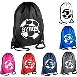 Kids Personalised Name Drawstring Football Bag SPLIT Design School Club PE Custom Name Childrens Bag Kids Backpack…