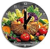 fruits et légumes frais dans le panier B & W en détail, diamètre horloge murale 30cm avec des mains carrées noires et visage, objets de décoration, Designuhr, composite aluminium très agréable pour séjour, bureau