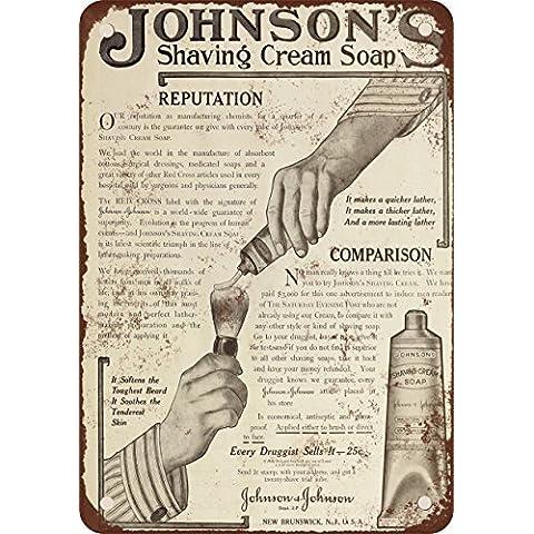 1910Johnson Schiuma da Barba Sapone stile vintage Riproduzione in metallo Tin Sign 17,8x