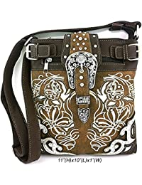 Scarlettsbags Embroidered Western Buckle Messenger Bag Cross Body Purse