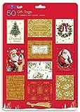 Or de Luxe Déjoué Cadeaux Noël étiquettes - Traditionnel - Pack de 50 - 10 Dessins Assortis de Fil d'or Métallique