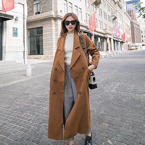 Xuanku L'Automne Et l'hiver Longue Section De Women's Manteau en Laine Camel Coton Mince Lâche Lâche De Style Cocoon Veste en Laine Genou