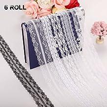Rollo de encaje, 6pcs Cinta de encaje floral encaje blanco del cordón de la boda nupcial 10Meter para la decoración hecha a mano de bricolaje por ss shovan