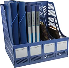 Skyfun Multi Purpose Foldable Plastic Document/File/Magazine/Book Holder Storage Desk Organizer Rack Stand with 4 Sections