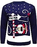 Mymixtrendz® Renne de Noël tricoté de Noël de nouveauté de Mens, au Pull de pub Taille S-2XL Noir Rouge