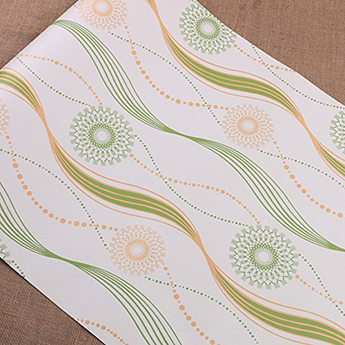 LoveFaye Green Wave Stripe Self Adhesive Shelf Drawer Liner PVC Embossed Contact Paper 23x118 Inch (Shelf Liner Green)