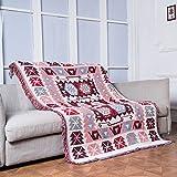 130x180cm Tejida Manta Suave grande de Sofá Cama para adultos, niños, mascotas y decoración en 100% algodón con antiestático y antipilling (Rojo-otro)