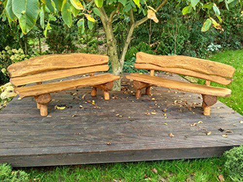 Gartenbank aus Massivholz | Farbe Eiche – Parkbank aus Akazien- und Tannenholz | Perfekt als Geschenk - 6