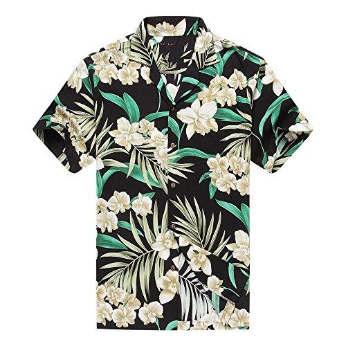 Hecho-en-Hawaii-Camisa-hawaiana-de-los-hombres-Camisa-hawaiana-Floral-gris-con-hoja-verde-en-negro