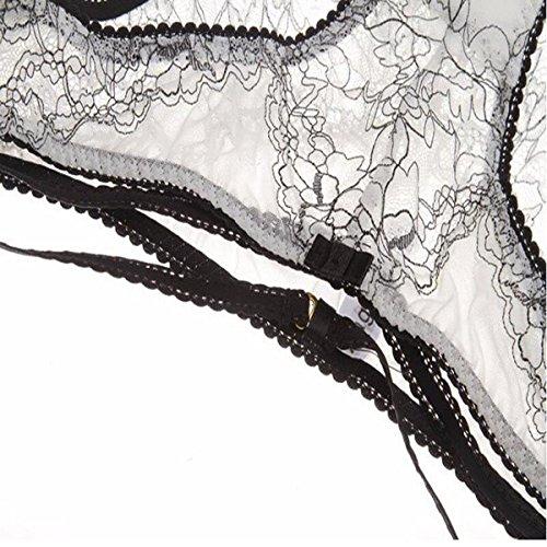 HSNZZPP Ultra-dünne Spitze Durchscheinend Damen BH-Set White