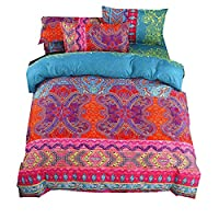 Stillshine Bedding Set 4Pcs/Sets Bohemian Moroccan Boho Indian Exotic Ethnic Style Duvet Cover Set Fitted Sheet and Pillow Case (Red Green, 200x230cm)