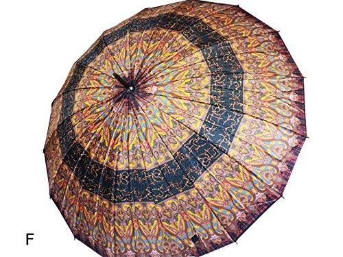 Moda Donna Stick ombrello, Ladies Fashion Stick Umbrella multi coloured with ornaments