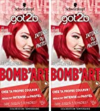 got2b color - Coloration Cheveux - BOMB'ART ROUGE - 092 L'Endiablée - Semi Permanent - Lot de 2