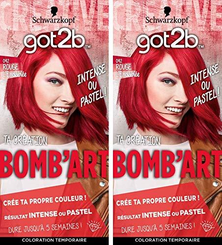 got2b color - Coloration Cheveux - BOMB'ART ROUGE - 092 L'Endiablée - Semi Permanent - Lot de 2