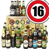 Geschenke zum 16. Hochzeitstag + Geschenk Box mit 24 Bieren der Welt und Deutschland + GRATIS Geschenk Karten + Bier-Bewertungsbogen + Personalisierte Geschenk Box - 16 + Geschenkidee zum 16 jährigen Jubiläum und 16. Ehrentag.
