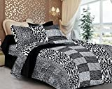 #1: Casa Copenhagen- Basic 144 Thread Count 100% Cotton Double Bedsheet With 2 Pillow Cover- Black & White