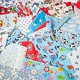 Stoffreste mit Kindermotiven, Jungen-Tasche, 100g, Bündel für Kinderzimmer, für Bastelarbeiten, Reste aus Polycotton