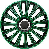 ASD TECH PP 5133G Pack de 4 Enjoliveurs Design Lemans 13'' Noir/Vert