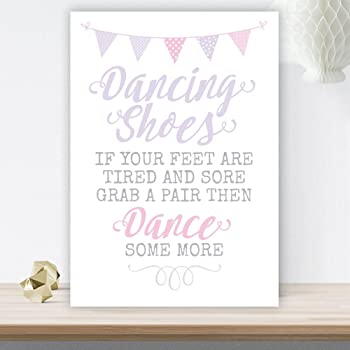 83b1d8018 Grey and Pink Dancing Shoes Wedding Flip Flop Basket Sign (GP9 ...