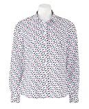 Savile Row Women's Women's Navy Fuschia Semi-Fitted Cat Print Shirt - Single Cuff 10