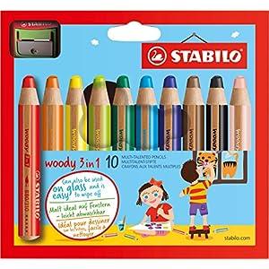 Buntstift, Wasserfarbe & Wachsmalkreide - STABILO woody 3 in 1 - 10er Pack mit Spitzer - 10 verschiedene Farben