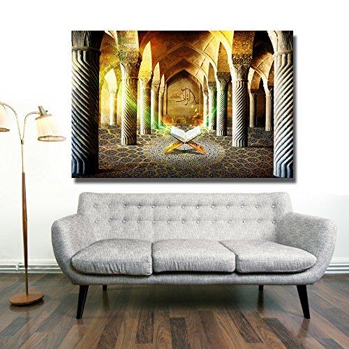 Islamische Leinwandbilder Dekoration Fotoleinwand Keilrahmen Fertig aufgespannt Allah Koran Ramadan Muhammed (120 x 80 cm, Koran in Moschee)