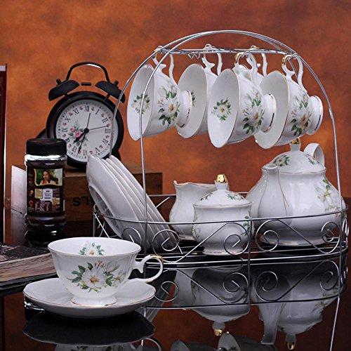 SSBY Pot de café ensemble, Continental tasse et soucoupe, bridal cadeau de mariage, tasse de café en porcelaine de 15 crânes