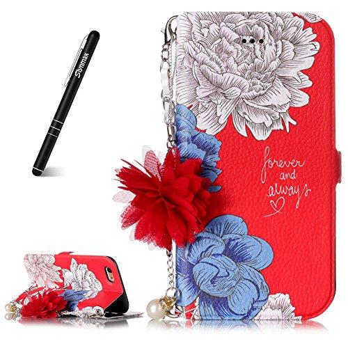 Slynmax Hülle für iPhone 6 Plus/iPhone 6S Plus, Ledertasche Flip Cover Wallet Case Ledertasche Handyhülle Tasche Case Hülle Stand Karte für iPhone 6 Plus/iPhone 6S Plus,Rote Chrysantheme