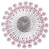Sunjun Kreative Persönlichkeit Continental Mute Wohnzimmer Dekoriert Schlafzimmer Moderne stilvolle Runde Uhr Art ( Farbe : Pink )