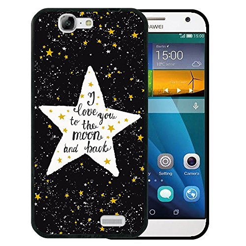 WoowCase Huawei Ascend G7 Hülle, Handyhülle Silikon für [ Huawei Ascend G7 ] Star Satz - I Love You to The Moon and Back Handytasche Handy Cover Case Schutzhülle Flexible TPU - Schwarz