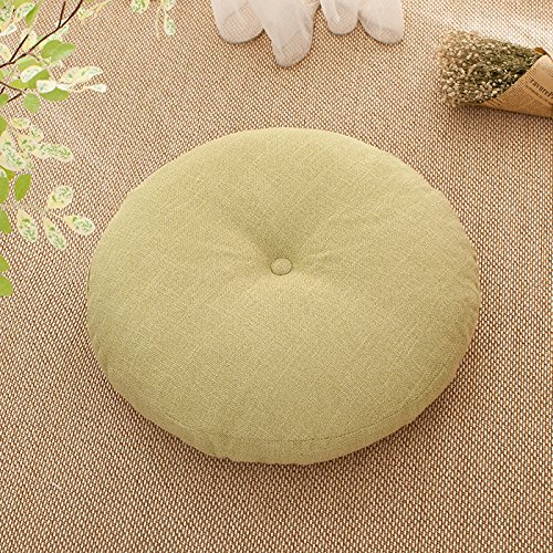 WDZA Coussin Lin Toile Ronde, Coussin Amovible Lavable 40X40Cm, Jaune Clair