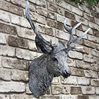 CUIAIDING statue sculpture Large Wall Mounted Stag Head Deer Antlers Wall Plaque Decorations Sculpture Figure Wall Background Decoration Resin Craft-in Statues