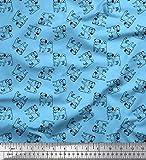 Soimoi Blau Poly Krepp Stoff Mops Hund Dekor Stoff gedruckt