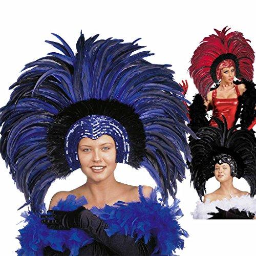 Amakando Brasilianischer Federkopfschmuck Showgirl Federschmuck blau Karibischer Kopfschmuck Samba Federkrone Rio Kopfbedeckung Feather Headdress Brasilien Kostüm Accessoire