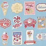 Blauer Stoff mit Schildern für Eis Donuts Kuchen