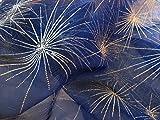 Organza Stoff GLITZER Schneeflocke Sterne dunkel blau
