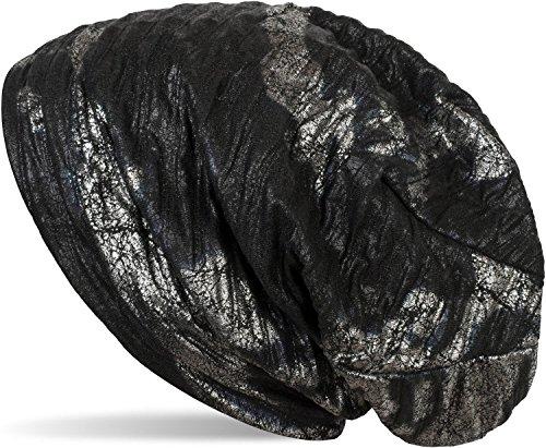 styleBREAKER Beanie Mütze im Antik Metallic Look mit Falten, Slouch Longbeanie, Unisex 04024135, Farbe:Schwarz-Silber (Falten Mütze)