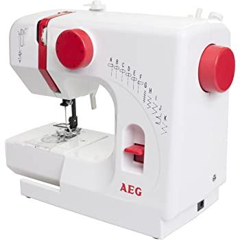 AEG Nähmaschine, Kunststoff, Metall, weiß/rot 29 x 23.5 x 12 cm