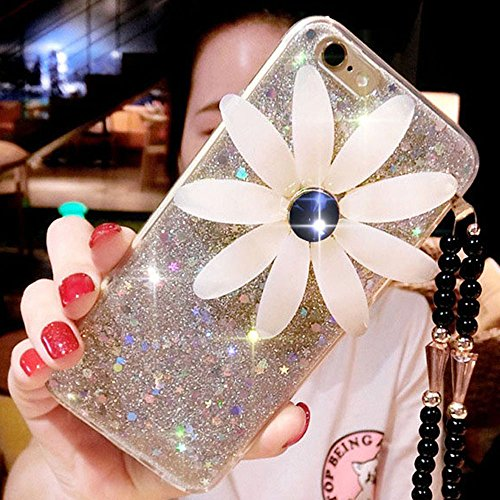 Cover iPhone 8,Cover iPhone 7,Custodia iPhone 8 / iPhone 7 Cover,ikasus® Diamanti di cristallo lucidi Glitter Modello di Specchio Daisy Cordicella a catena perline custodia iPhone 8 / iPhone 7 disegno Argento