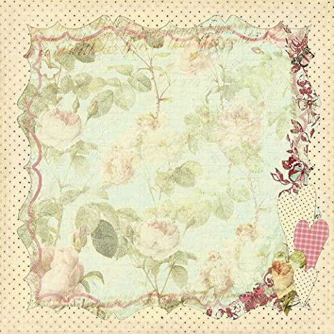 Prima 813253 12 by 12-Inch Art Stitched Mulberry Paper, Floral Hearts by Prima