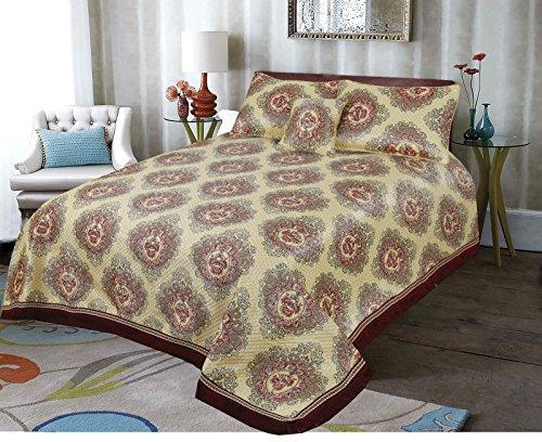 Love2Sleep authentisches Asiatisches Oriental ethnischen Jacquard Damast Set mit bestickter Aufnäher Tagesdecke Gold Tröster Set 240x 220: Quetta (Tröster Set Asiatischen)