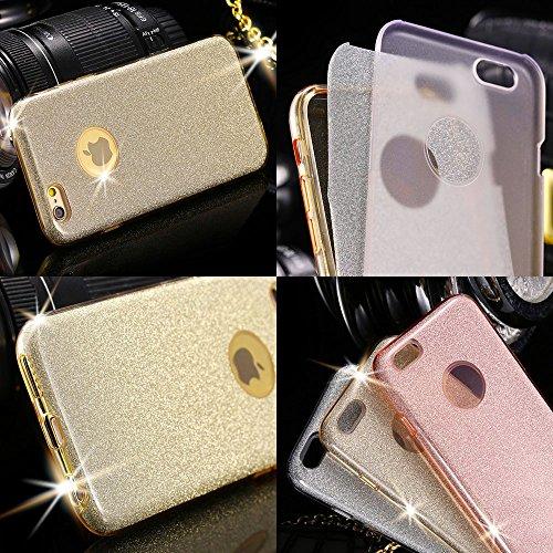 EGO ® Glitzer Schutzhülle + Panzerglas für iPhone 6 6S, Schwarz Back Case Bumper Glänzend Transparente Luxus Bumper TPU Bling Weiche Glamour Handy Cover Silikon Glitter Lipgloss Gold