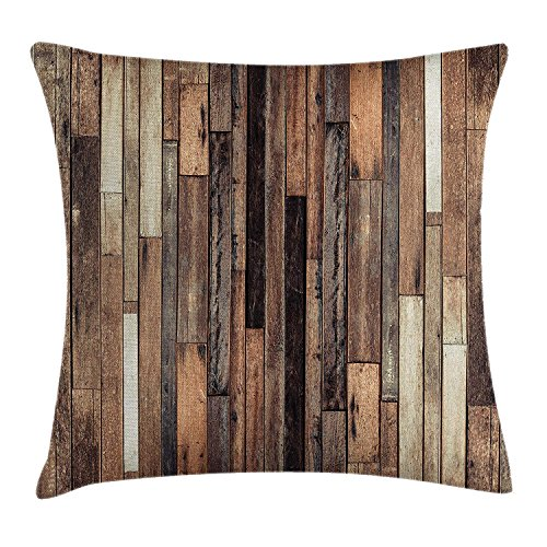 vnsukdlfg Wooden Throw Pillow Cushion Cover, Brown Old Hardwood Floor Plank Grunge Lodge Garage Loft Natural Rural Graphic Artsy Print, Decorative Square Accent Pillow Case, 18 X 18 Inches, Brown -
