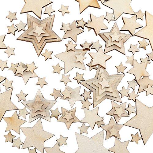 100 Stücke Holz Scheiben Deko Mini Handwerk Holzsterne Naturholzscheiben zum DIY Hochzeit Geburtstag Feiertag Dekoration bastelbedarf Holz Verschönerungen Gemischt 10mm / 20mm / 30mm / 40mm