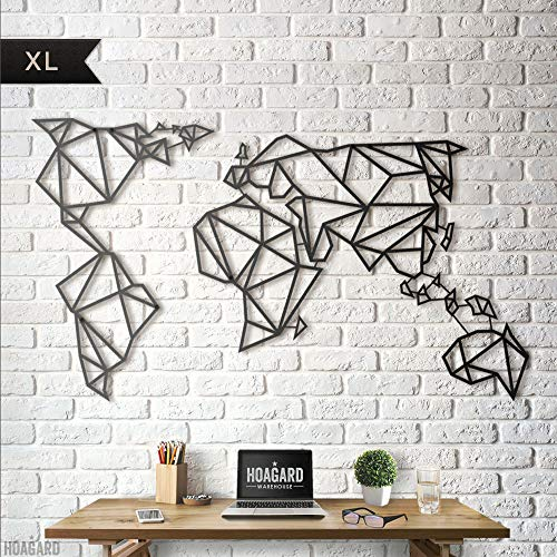 Hoagard Metal World Map Black XL - Hoagard Weltkarte aus Metall Schwarz XL | 80cm x 140cm | Geometrische Metallwandkunst, Wanddekoration (Ort Karte Frames)