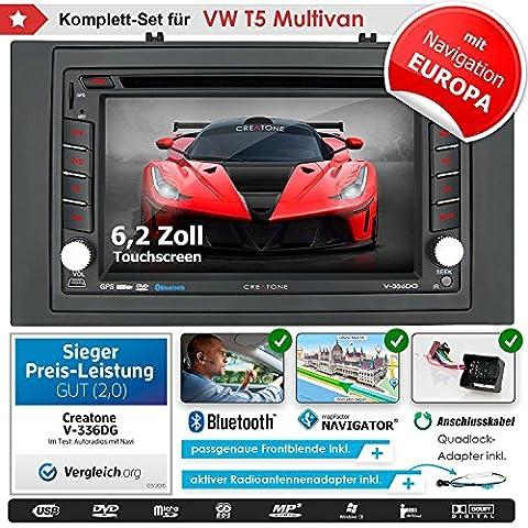 2DIN Autoradio CREATONE V-336DG für VW T5 Multivan (vor Facelift 2003 - 2009) mit GPS Navigation (Europa), Bluetooth, Touchscreen, DVD-Player und