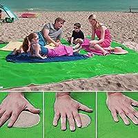 Arena Free Beach Mat, suciedad de arena y polvo disparar, toalla de playa, secado rápido, picnics manta de camping, impermeable, fácil de limpiar, Manta Festival de Yoga, Manta de viaje, cubierta de tierra (Verde)